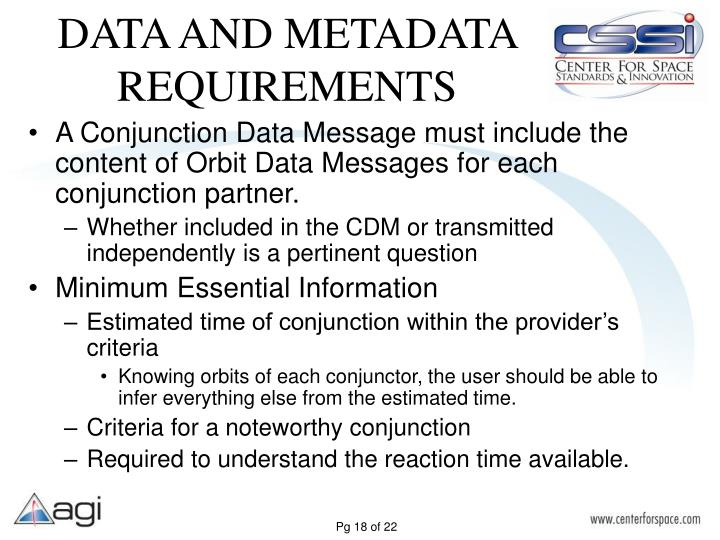DATA AND METADATA REQUIREMENTS