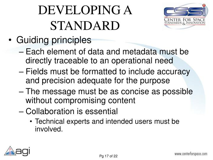 DEVELOPING A STANDARD