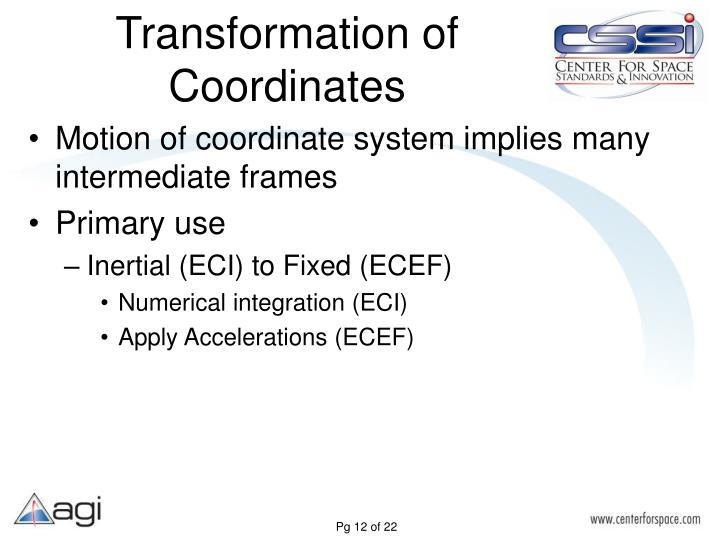 Transformation of Coordinates