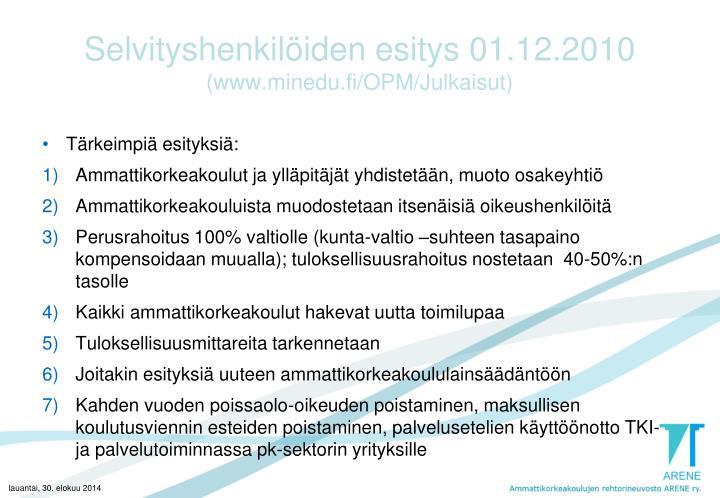 Selvityshenkilöiden esitys 01.12.2010