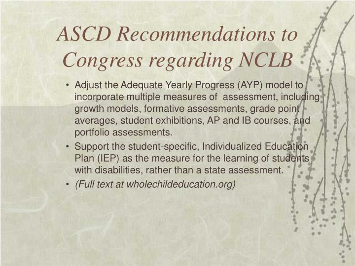 ASCD Recommendations to Congress regarding NCLB