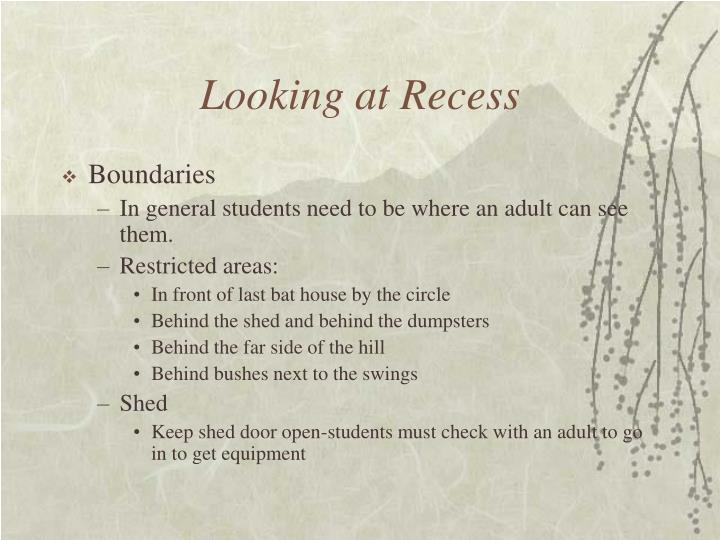 Looking at Recess