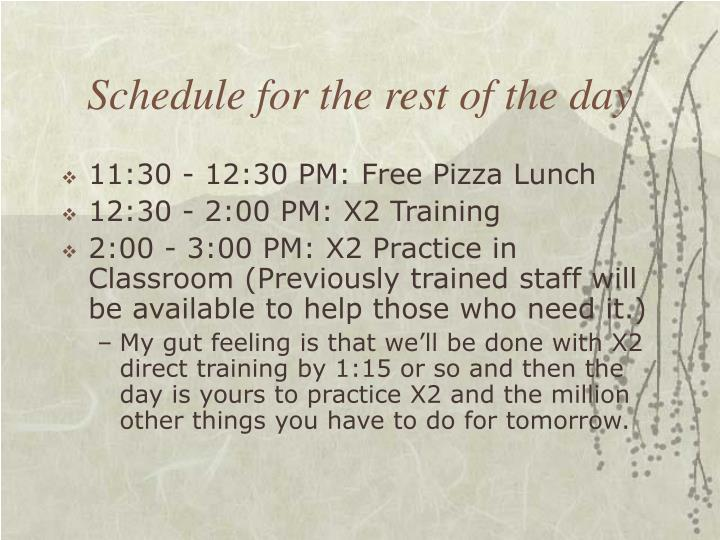 Schedule for the rest of the day