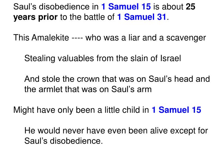 Saul's disobedience in