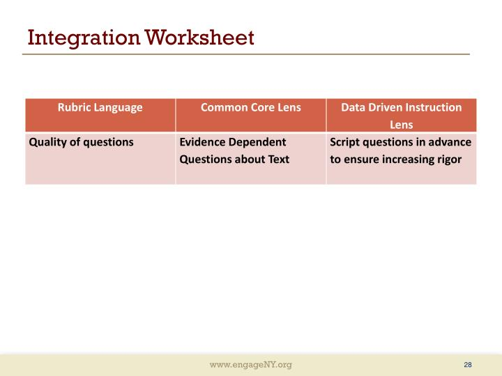 Integration Worksheet