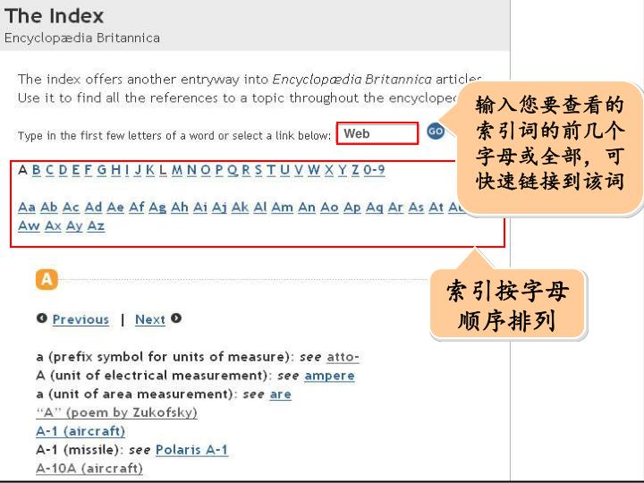 输入您要查看的索引词的前几个字母或全部,可快速链接到该词