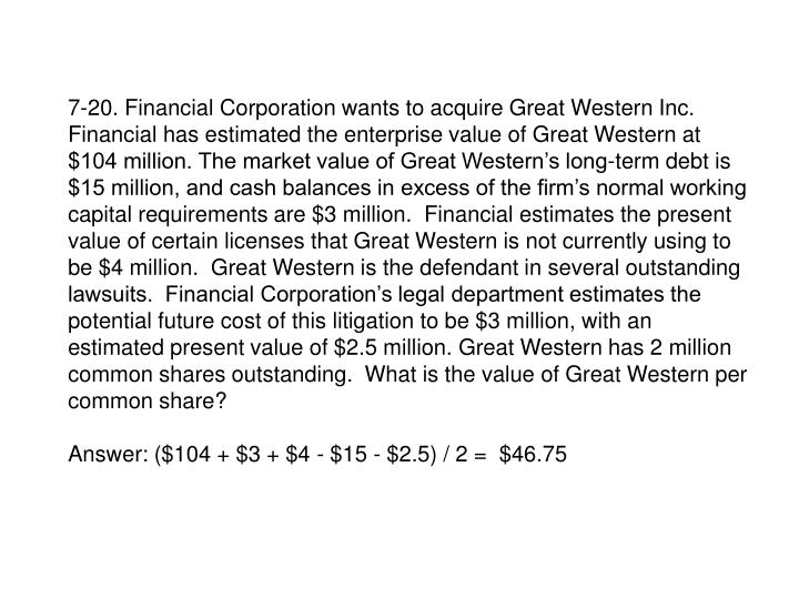 7-20. Financial Corporation wants to acquire Great Western Inc.  Financial has estimated the enterprise value of Great Western at $104 million. The market value of Great Western's long-term debt is $15 million, and cash balances in excess of the firm's normal working capital requirements are $3 million.  Financial estimates the present value of certain licenses that Great Western is not currently using to be $4 million.  Great Western is the defendant in several outstanding lawsuits.  Financial Corporation's legal department estimates the potential future cost of this litigation to be $3 million, with an estimated present value of $2.5 million. Great Western has 2 million common shares outstanding.  What is the value of Great Western per common share?