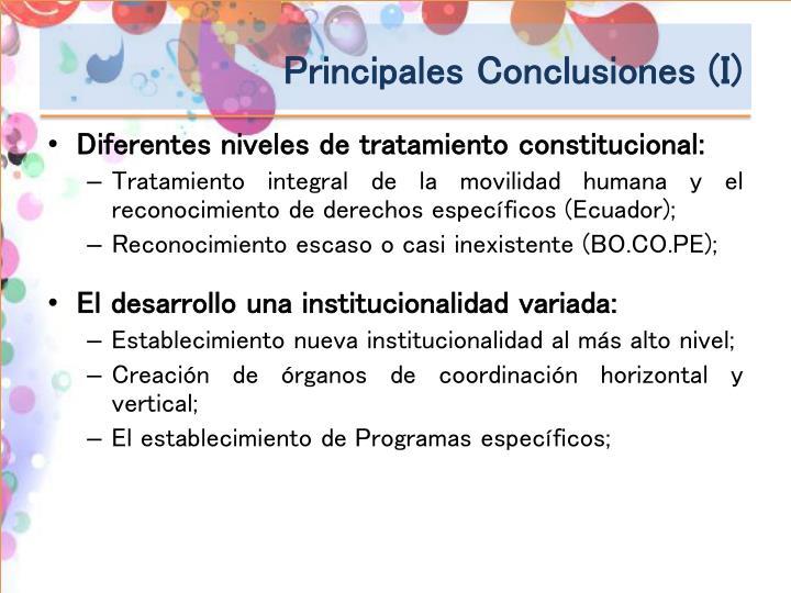 Principales Conclusiones (I)