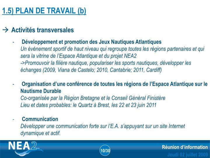 1.5) PLAN DE TRAVAIL (b)