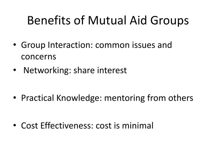 Benefits of Mutual Aid Groups
