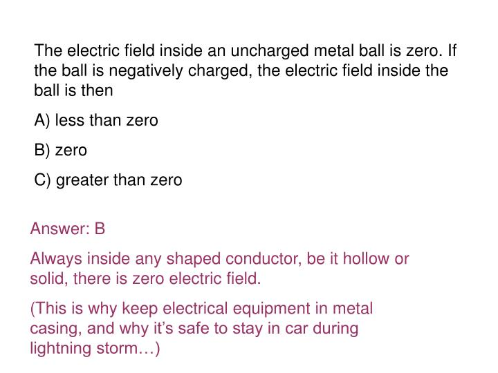 The electric field inside an uncharged metal ball is zero. If the ball is negatively charged, the electric field inside the ball is then