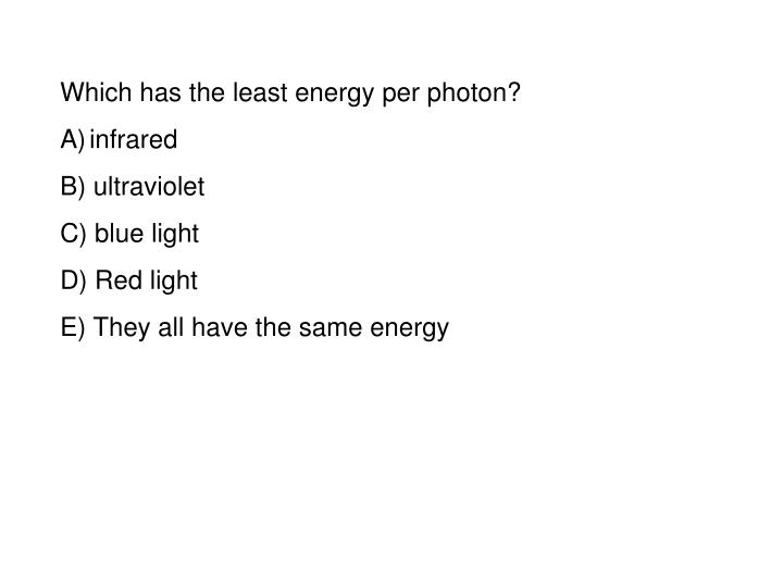 Which has the least energy per photon?