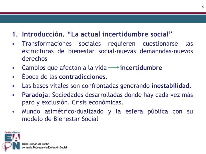 "Introducción. ""La actual incertidumbre social"""