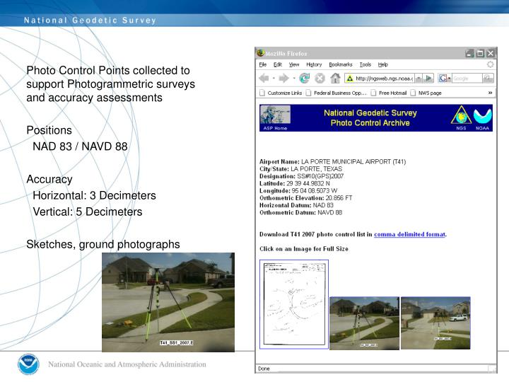 Photo Control Points collected to support Photogrammetric surveys and accuracy assessments