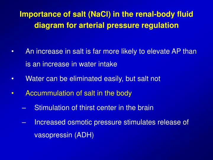 Importance of salt (NaCl) in the renal-body fluid diagram for arterial pressure regulation
