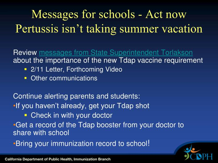 Messages for schools - Act now Pertussis isn't taking summer vacation