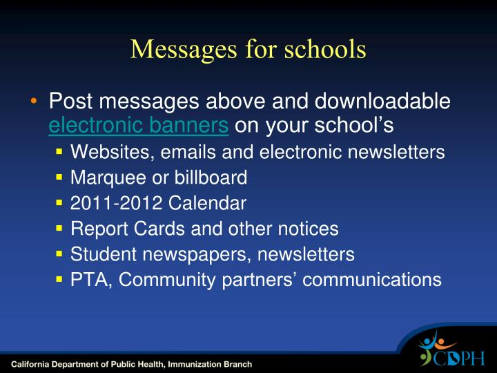 Messages for schools