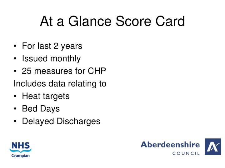 At a Glance Score Card