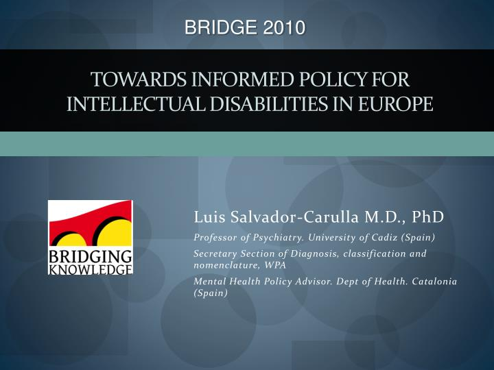 Towards informed policy for intellectual disabilities in europe