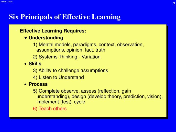 Six Principals of Effective Learning
