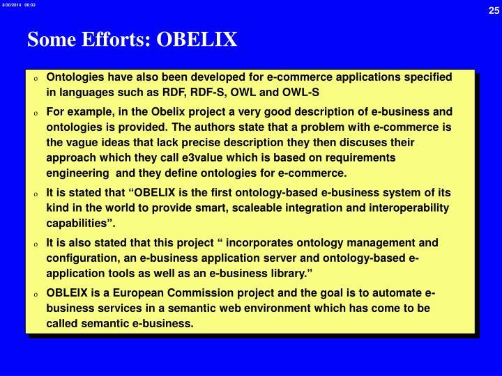 Some Efforts: OBELIX