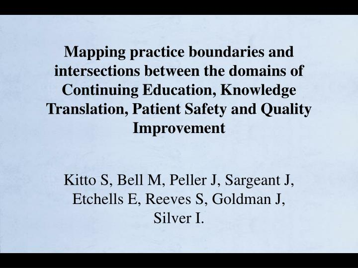 Mapping practice boundaries and intersections between the domains of Continuing Education, Knowledge Translation, Patient Safety and Quality Improvement