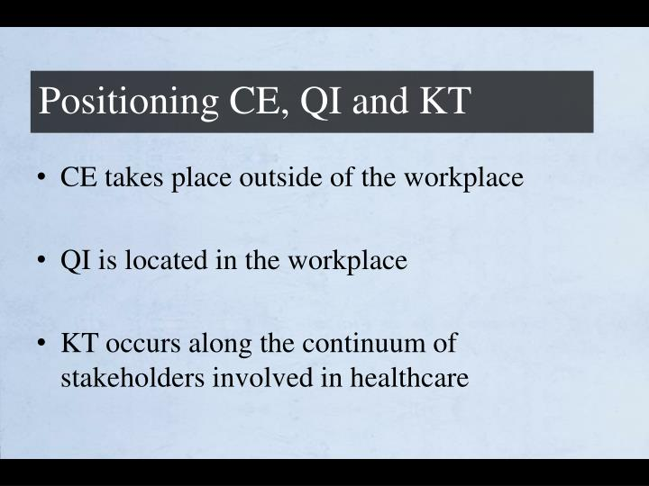 Positioning CE, QI and KT