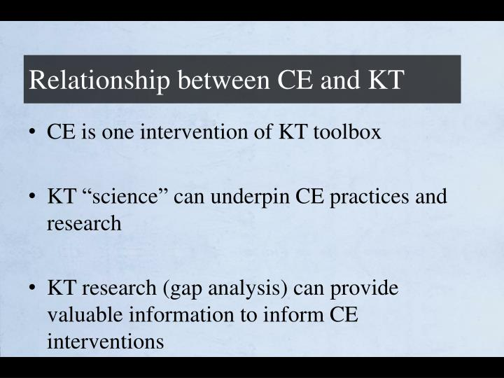 Relationship between CE and KT