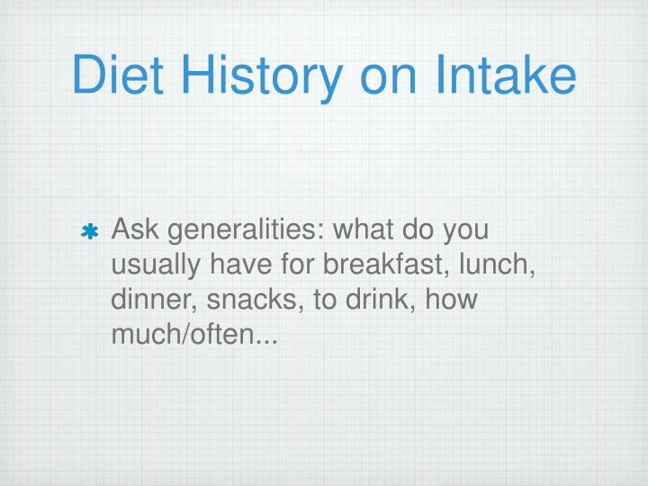 Diet History on Intake