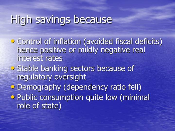 High savings because
