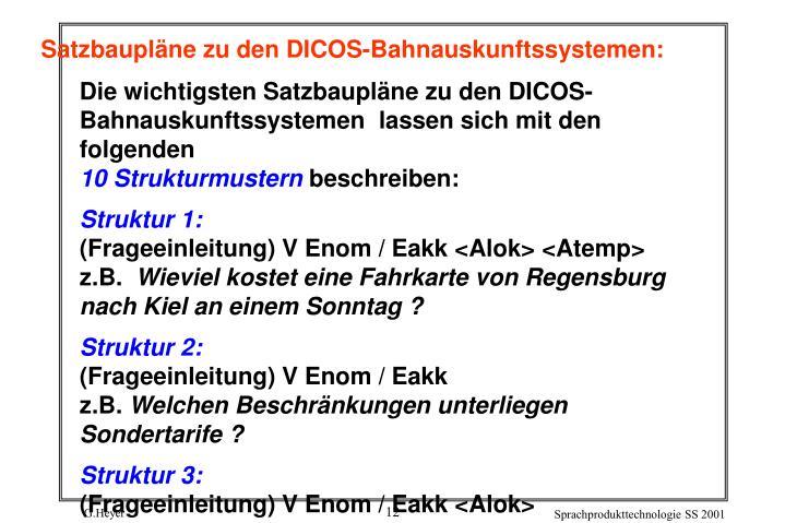 Satzbaupläne zu den DICOS-Bahnauskunftssystemen: