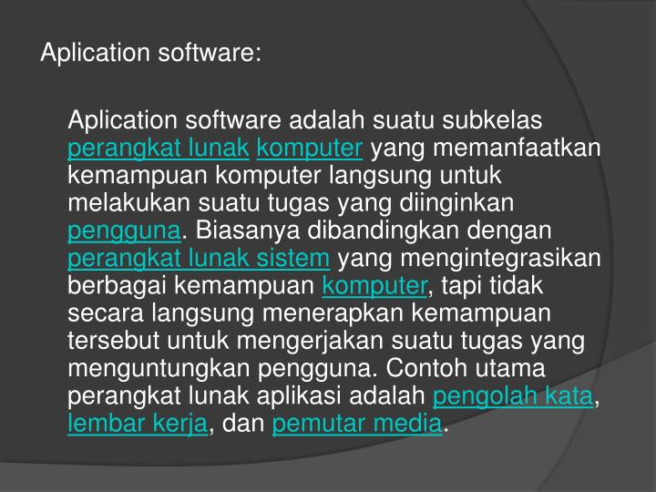 Aplication software: