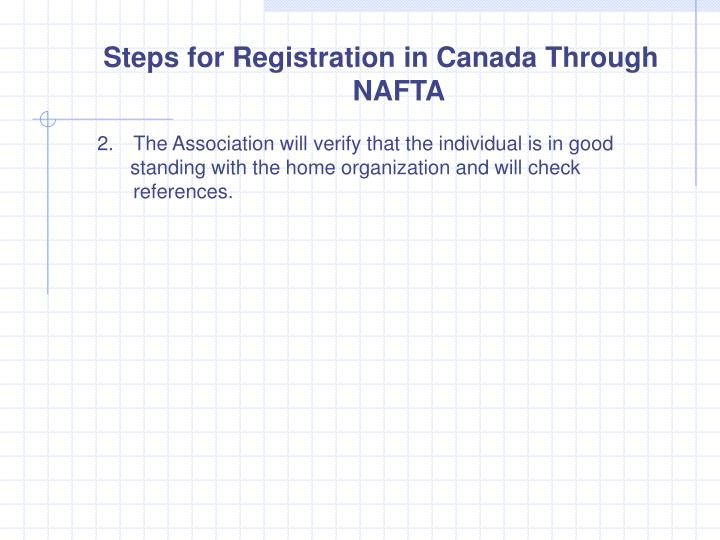 Steps for Registration in Canada Through NAFTA