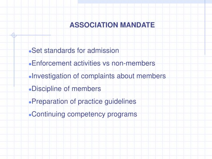 ASSOCIATION MANDATE