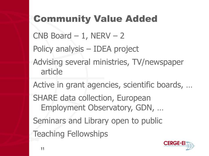 Community Value Added