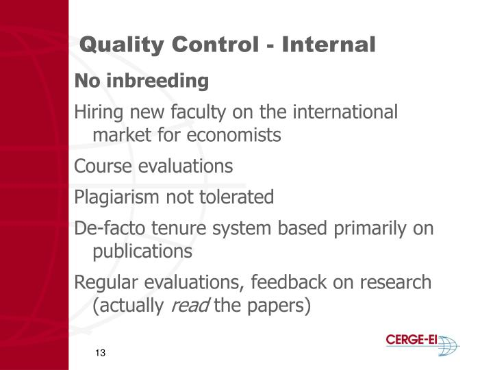 Quality Control - Internal