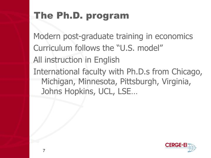 The Ph.D. program