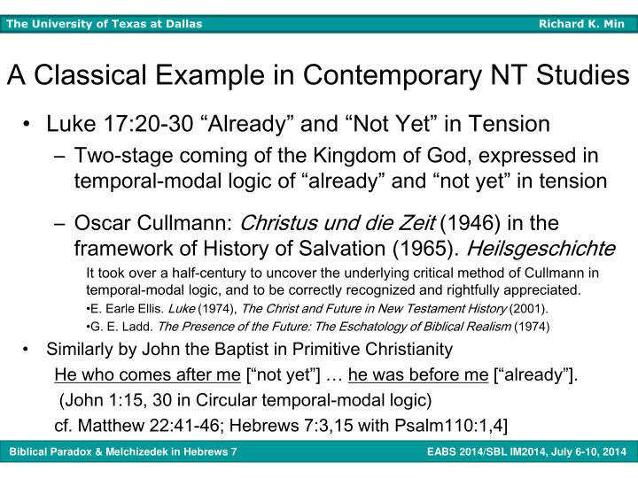 A Classical Example in Contemporary NT Studies