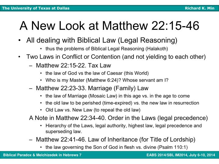 A New Look at Matthew 22:15-46