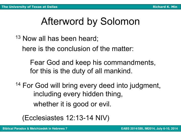 Afterword by Solomon