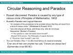 circular reasoning and paradox