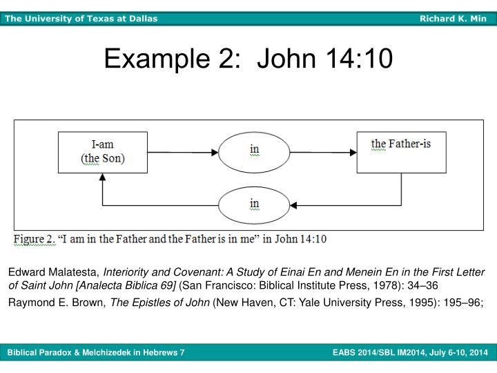 Example 2:  John 14:10
