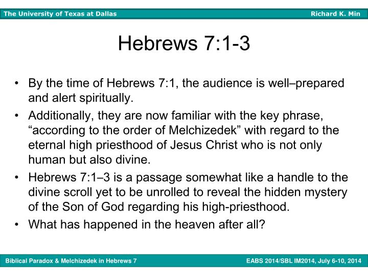 Hebrews 7:1-3