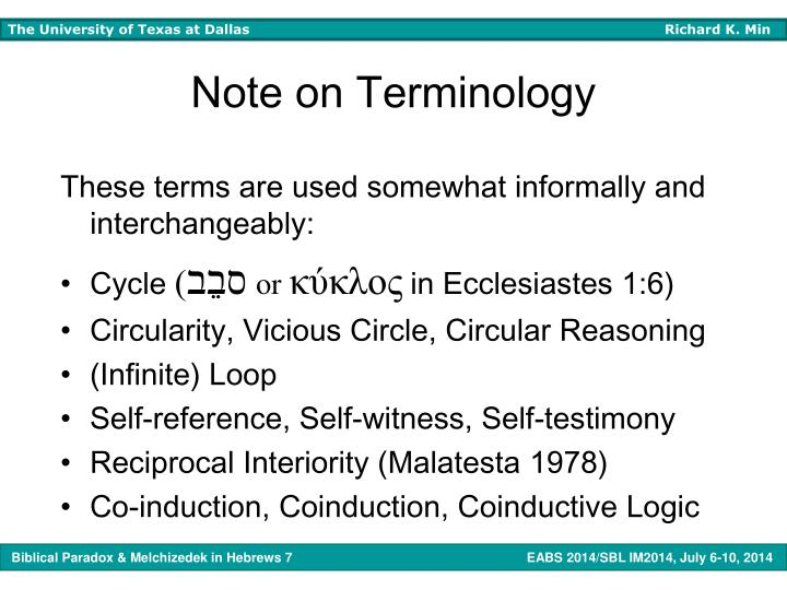 Note on Terminology