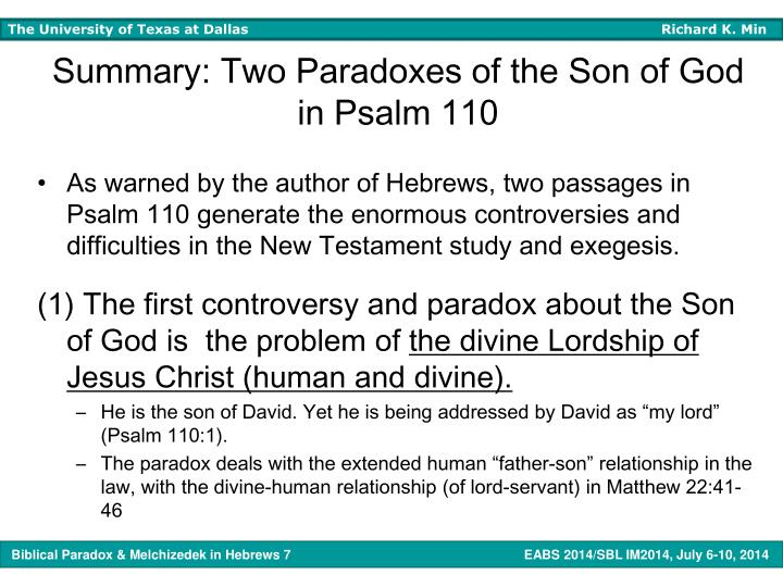 Summary: Two Paradoxes of the Son of God