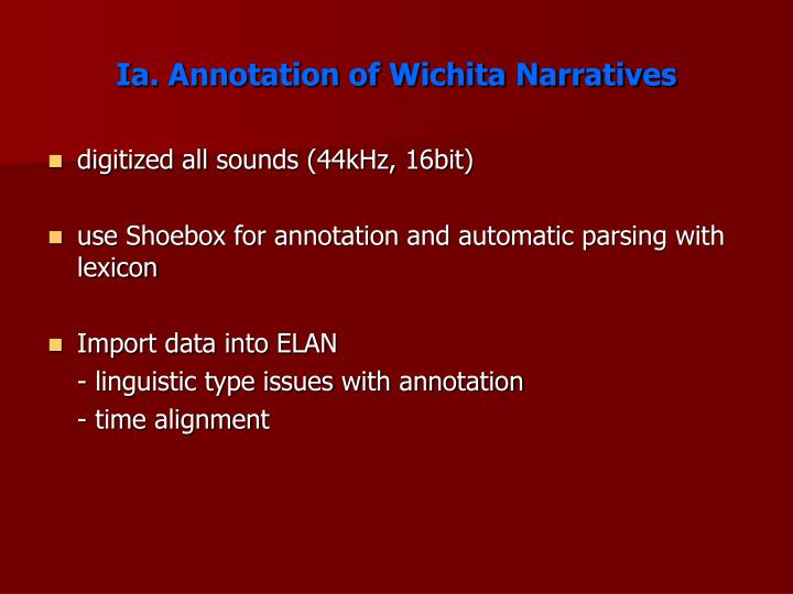 Ia annotation of wichita narratives