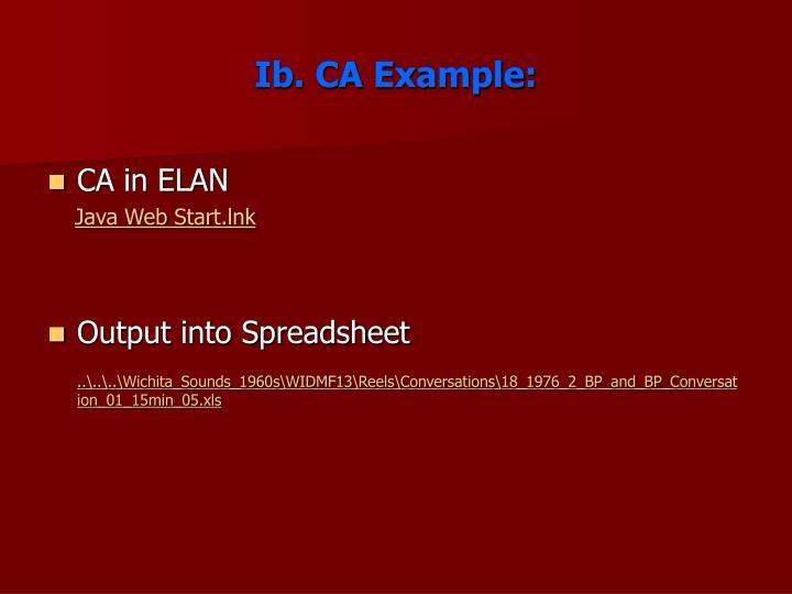 Ib. CA Example: