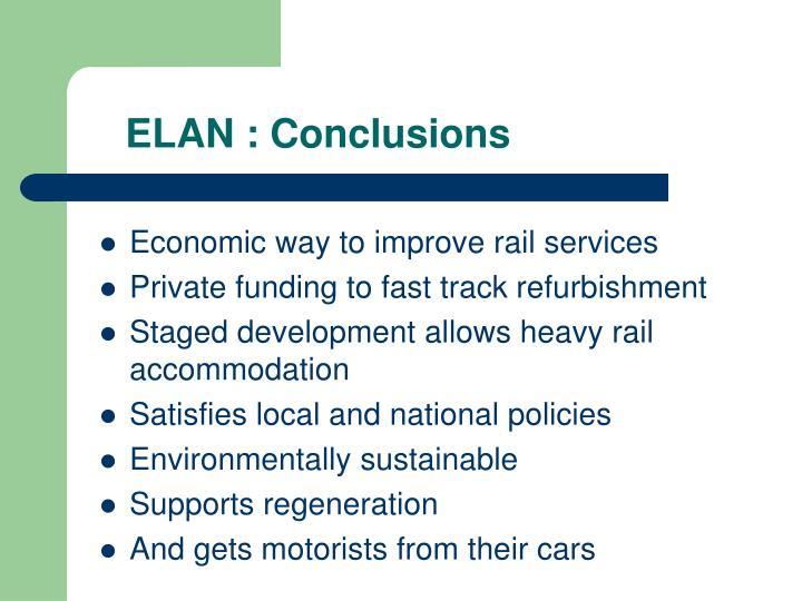 ELAN : Conclusions