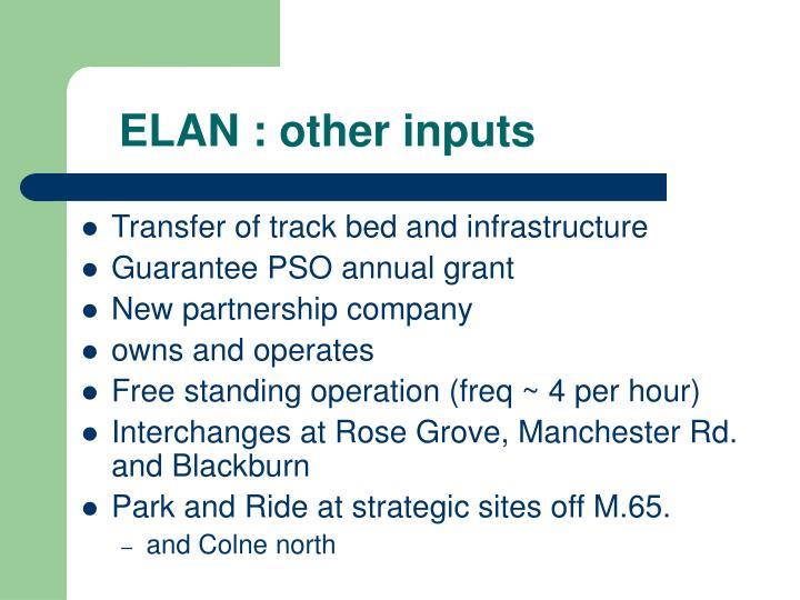 ELAN : other inputs