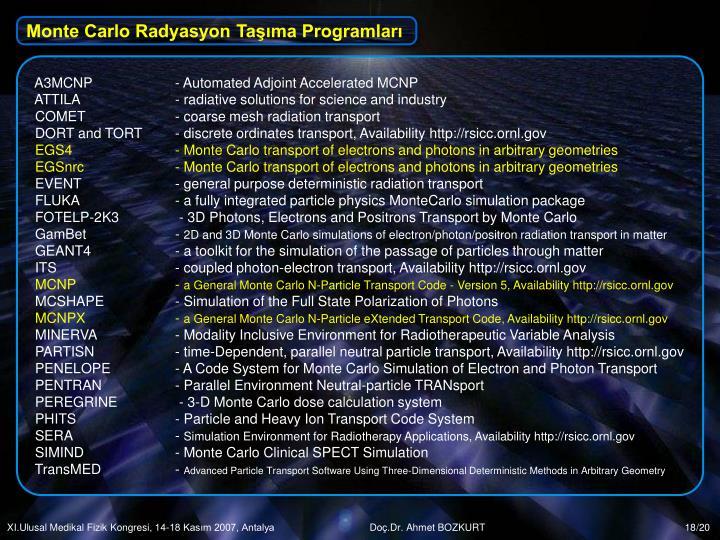 Monte Carlo Radyasyon Taşıma Programları